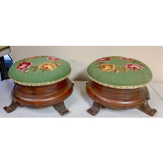 Pair of 19th C. Victorian Killian Bros. Needlepoint Ottomans Preview