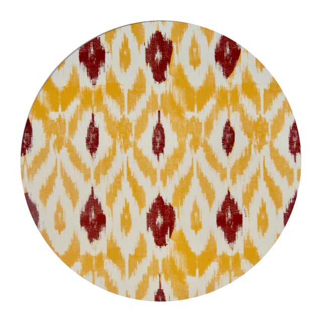 Contemporary Ikat Placemat in Saffron For Sale - Image 3 of 3