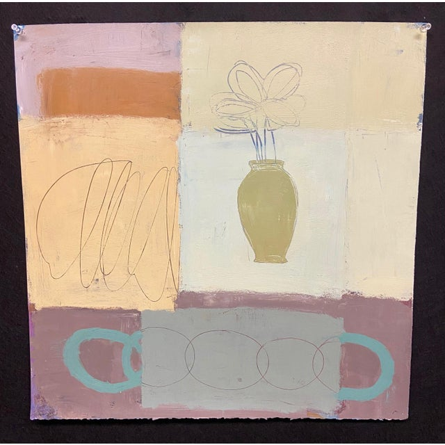 2010s Contemporary Abstract Still Life Oil Painting on Paper For Sale - Image 5 of 5