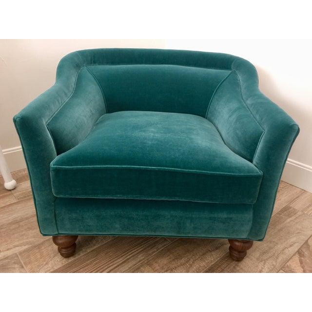 Teal Modern Anthropologie Teal Velvet Holloway Chair For Sale - Image 8 of 8