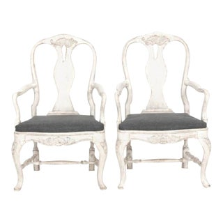 Pair of Painted Rococo Armchairs For Sale