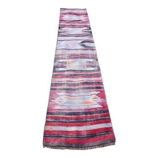 Vintage Striped Turkish Kilim Runner Rug 2′5″ × 11′5″ For Sale