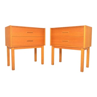 Danish Modern Oak Two Drawer Nightstands - a Pair For Sale