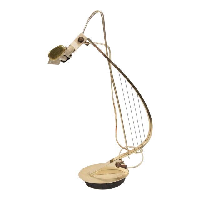 Mid-Century Modern Sculptural Harp Shape Table / Desk Lamp For Sale