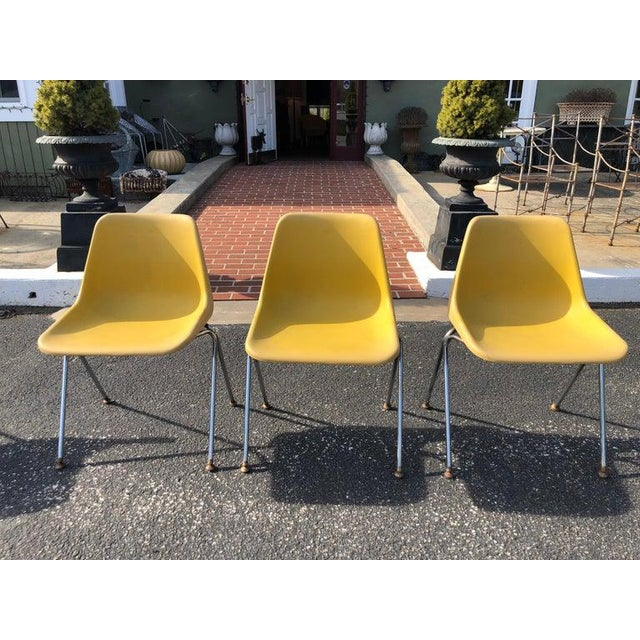 Set of three yellow Jon Stewart Stackable shell chairs. Plastic composition with metal lag base. Signed on underside of...