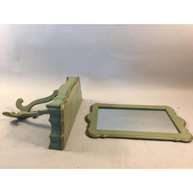Shabby Mint Green Foyer Demilune Table Wall Shelf & Mirror - A Pair - Image 3 of 9