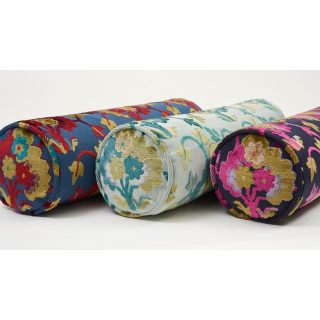 Schumacher Schumacher Jennie Velvet Bolster Pillow in Blue & Red For Sale - Image 4 of 9