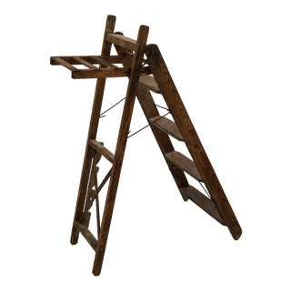 1950s Vintage 5-Step Wooden Ladder For Sale
