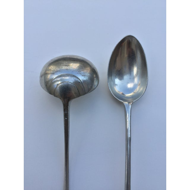 Vintage Sven Berg Geddy Foundry Handmade Pewter Extra Large Serving Spoon and Ladle - Set of 2 For Sale - Image 4 of 11