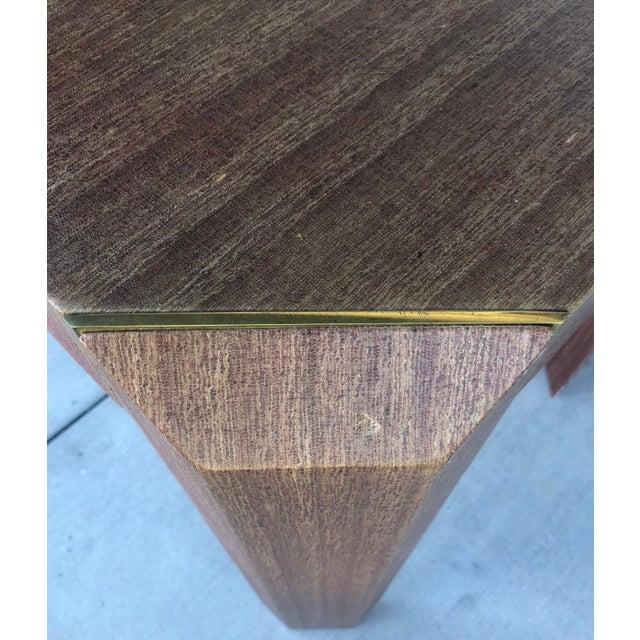 Brass Linen Covered & Brass Details Desk For Sale - Image 7 of 8