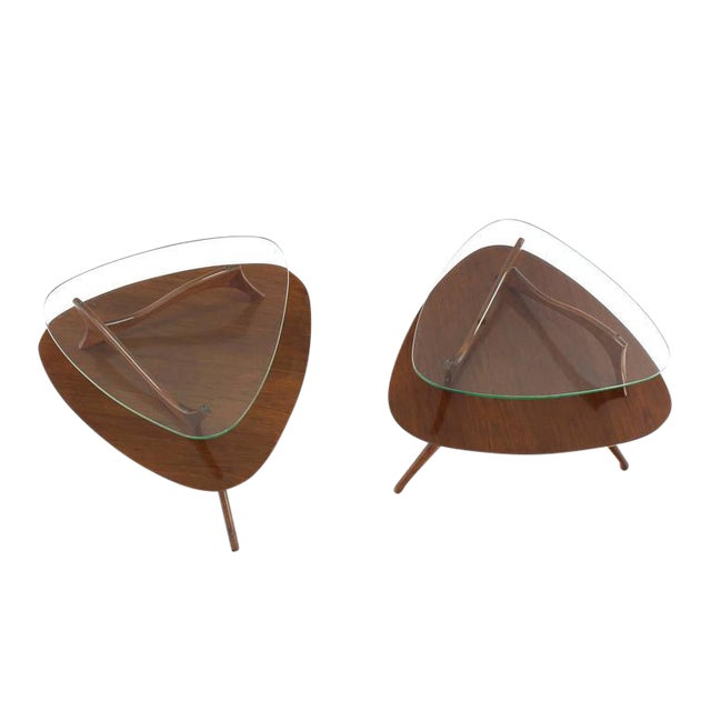 Pair of Round Triangular Tri Legged Two-Tier Side Tables For Sale
