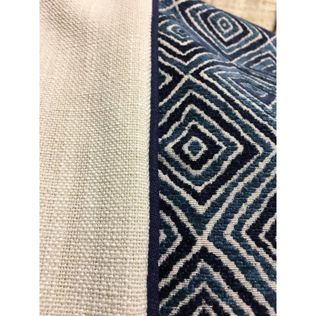 2010s Robert Allen Blue & White Geometric Fabric Accent Pillow Covers - A Pair For Sale - Image 5 of 11