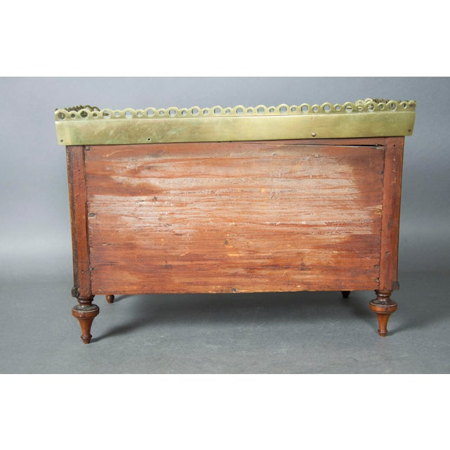 Mid 19th Century Directoire Style Mahogany and Brass Inlaid Miniature Commode For Sale - Image 5 of 6