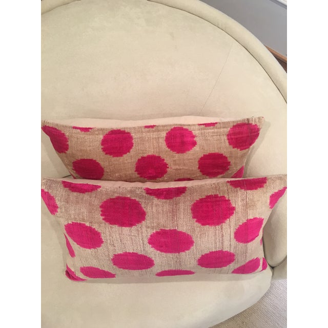 Pink Dots Handmade Pillows - A Pair For Sale - Image 4 of 9