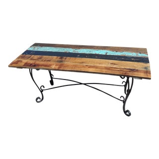 Reclaimed Barn Wood and Wrought Iron Dining Table