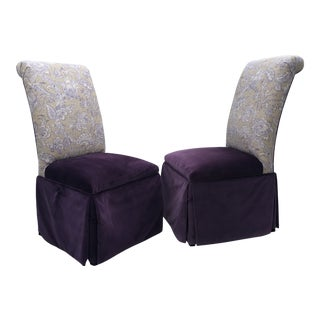 Custom Skirted Upholstered Parson Style Chairs - a Pair For Sale