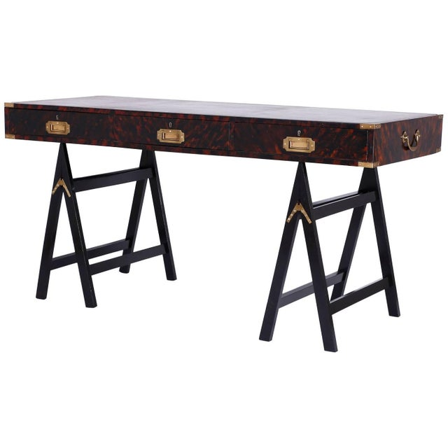 19th Century English Campaign Style Desk with a Faux Tortoise Shell Finish For Sale - Image 11 of 11