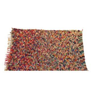 """Vintage Boucherouite Moroccan Carpet - 6'7"""" X 4'"""