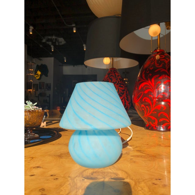 Mid-century Italian Murano glass lamp by Venini. Excellent condition, perfect for a desk or nightstand. Beautiful and...