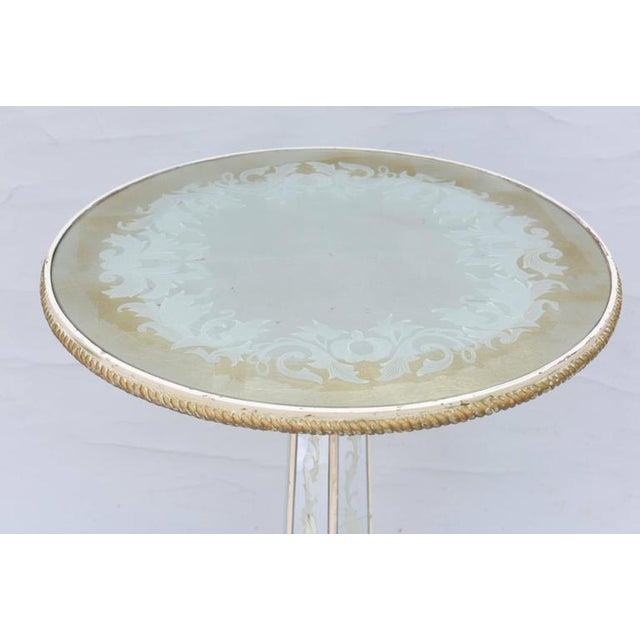Metal Italian Églomisé Occasional Pedestal Table For Sale - Image 7 of 12