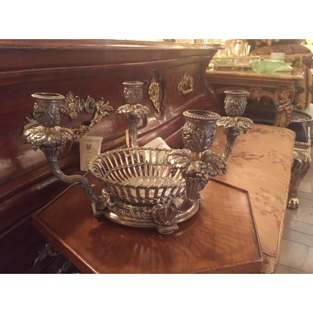 1900s Vintage French Silvered Bronze Candle Center Bowl Basket For Sale - Image 10 of 11