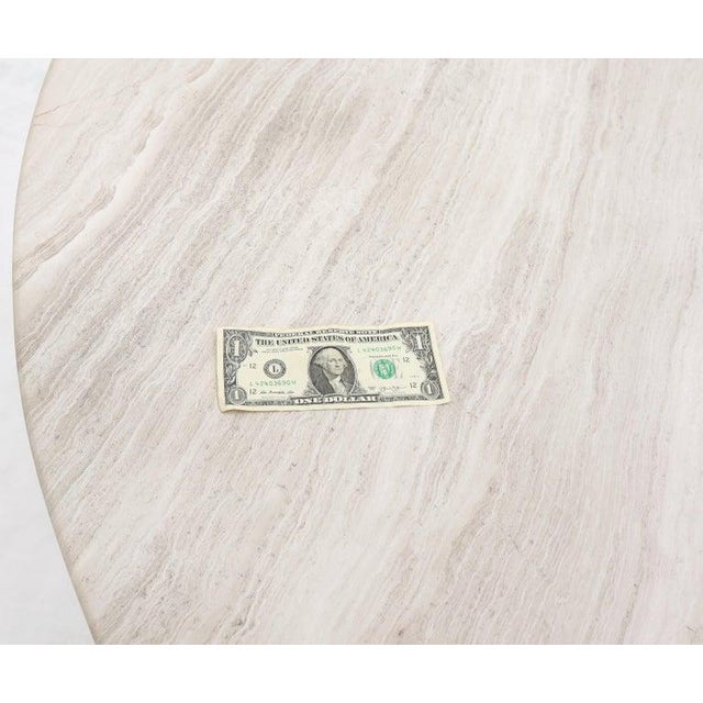 """Extra Large 8 point star brass-clad base 1"""" thick round marble top dining conference table. Measures: 72"""" diameter."""