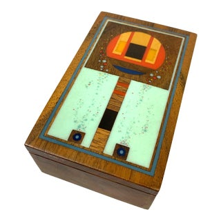 "1970s Robert McKeown Walnut & Resin Inlay ""Bubble Box"" For Sale"