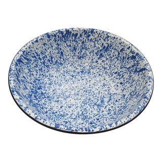 1950s Vintage Splatterware Enamel French Blue Large Bowl For Sale
