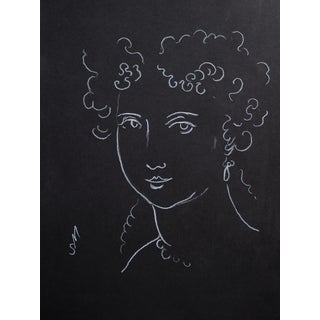 """Woman With Ringlets"" Minimalist Inspired White Charcoal Drawing by Sarah Myers Preview"