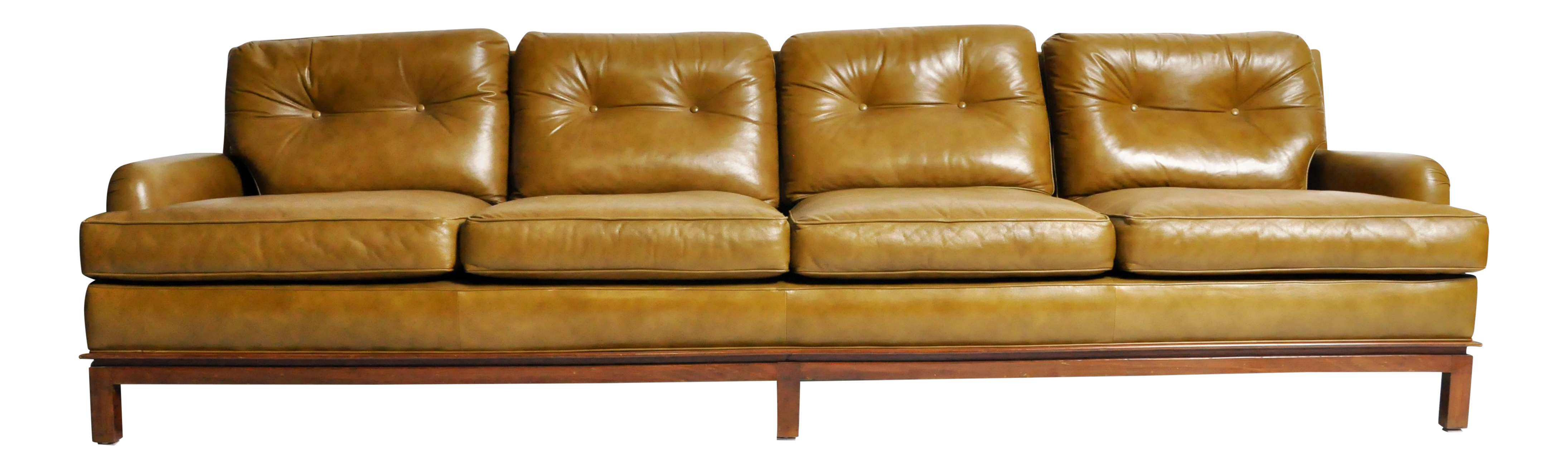 Mid Century Modern Green Leather Sofa With Hardwood Base By Edward Wormley