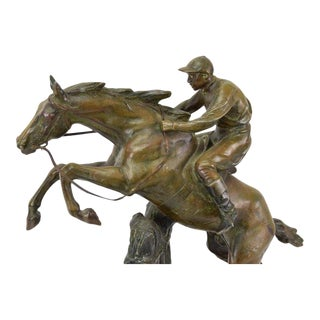 "1930s Arts and Crafts ""Saut D'Obstacle"" Obstacle Jump Horse and Rider Bronzed Figurine For Sale"