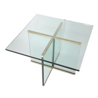 1970S BRASS AND GLASS SIDE TABLE BY LEON ROSEN FOR PACE COLLECTION For Sale