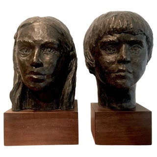 Plaster Boy and Girl Sculptures - a Pair