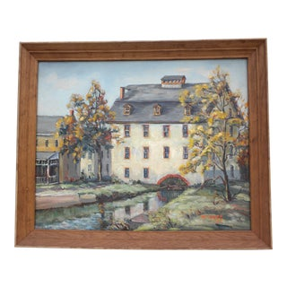Pennsylvania Mill House Oil Painting by Ann Yost Mid-Century Pennsylvania Impressionist For Sale