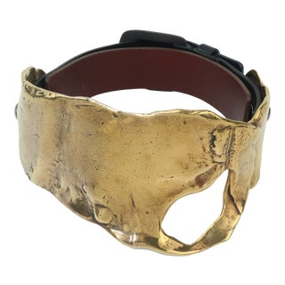 Tom Ford Brutalist Melted Brass & Leather Choker Necklace For Sale