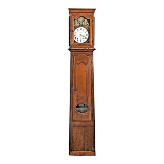 18th Century French Provincial Oak Grandfather Clock With an Enamel Griffin Face For Sale