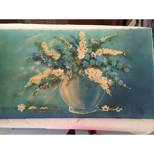 Mid-Century Vase and Flowers Painting - Image 2 of 10