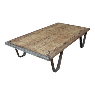 Antique Industrial Brick Pallet Coffee Table For Sale