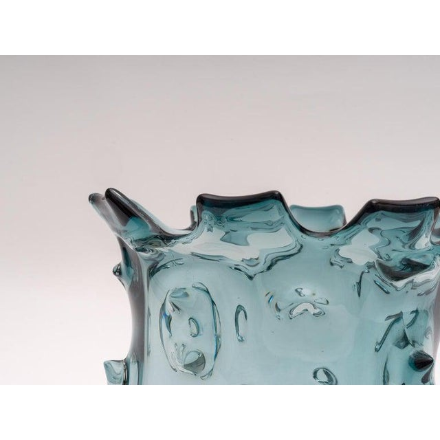 1960s Blue Murano Glass Vase by Barovier E Toso For Sale In West Palm - Image 6 of 9