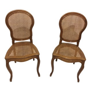 Pair of French Caned Balloon Chairs For Sale