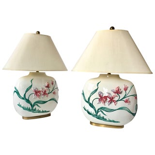 Chinoiserie Style Floral Table Lamps by Chapman, Pair For Sale