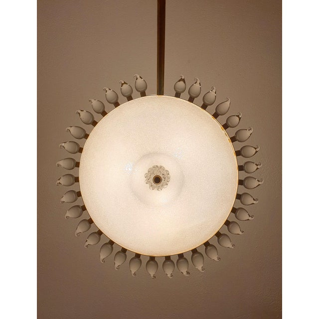 Gino Cenedese Large Mid-Century Modern Sunflower Murano Glass & Brass Chandelier, Cenedese For Sale - Image 4 of 12