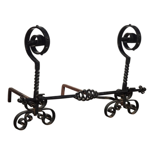 Vintage Black Wrought Iron Spanish Style Andirons W Decorative Cross Bar For Sale