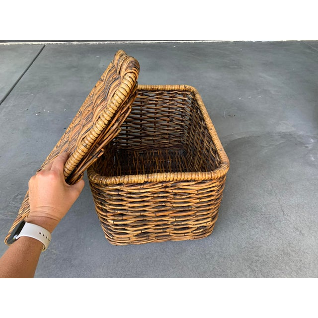 Pottery Barn Pottery Barn Woven Rattan and Wicker Lidded Basket For Sale - Image 4 of 7