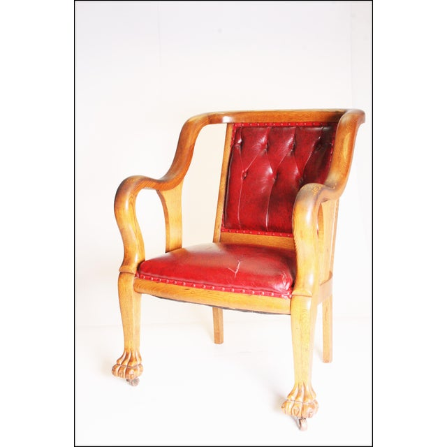 Vintage Wood & Red Leather Gentleman's Chair For Sale - Image 5 of 11