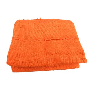 "African Bogolan Textile Mud Cloth Plain Orange 60"" by 41"" For Sale"