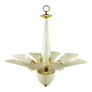 Vintage Modern Italian Brass Frosted & Glass Leaf Chandelier