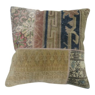 Patchwork Pillow Made From Assortment of Antique Rugs For Sale