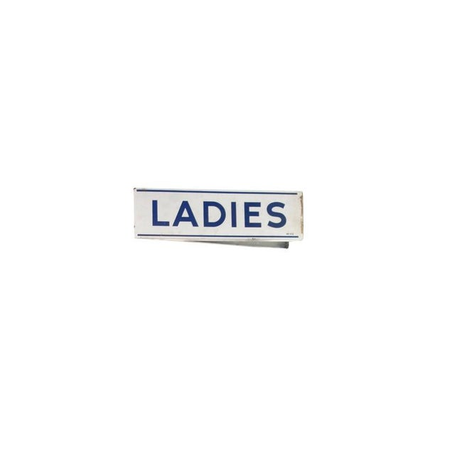 This is a double sided wall mount porcelain enamel ladies restroom sign in excellent condition.
