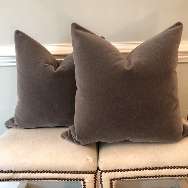 "Mink Brown Mohair Pillows - 22"" x 22"" - A Pair - Image 5 of 5"